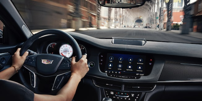 2020 Cadillac CT6-V Full-Size Sport Sedan Dashboard And Steering Wheel.