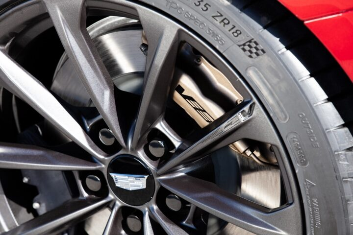 Close-up view of the 2022 CT4-V Blackwing wheel.