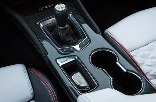 Shift stick of the 2022 Cadillac CT4-V Blackwing.
