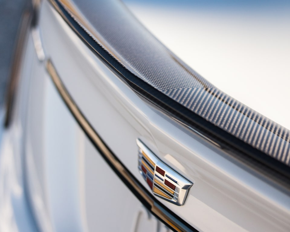 2022 Cadillac CT5-V Blackwing featuring a close-up view of the rear insignia.