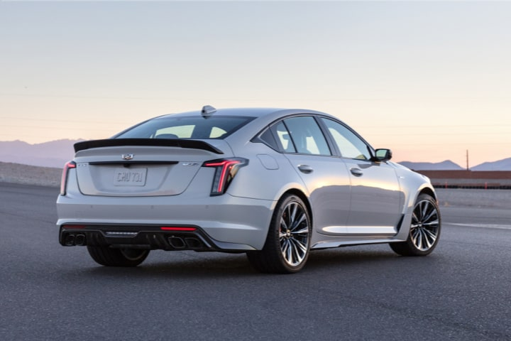 Rear side view of the 2022 Cadillac CT5-V Blackwing.