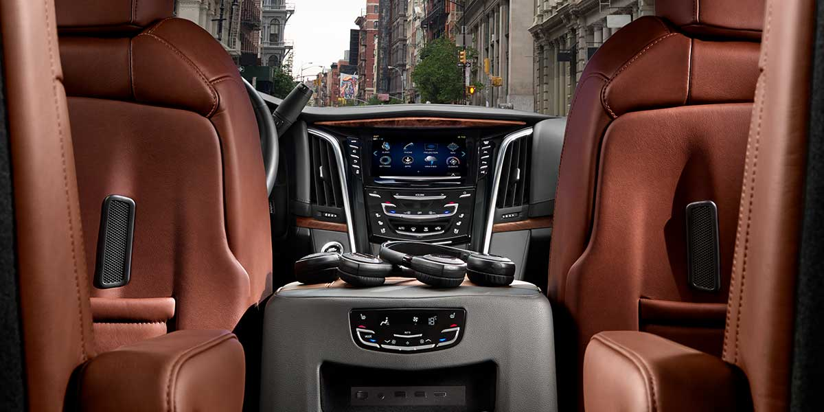 2019 Cadillac Escalade Interior View From Backseat.