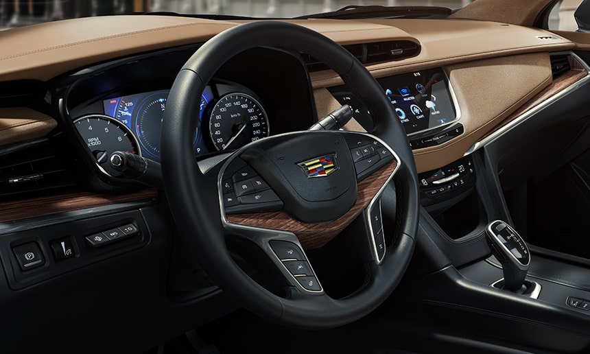 Interior of the 2019 Cadillac XT5 Platinum crossover.