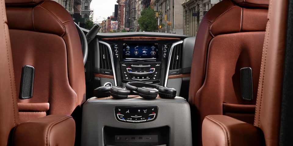 2020 Cadillac Escalade Full-Size SUV Rear Console View.