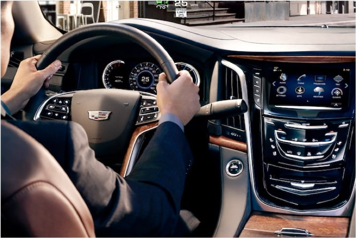 2020 Cadillac Escalade Full-Size SUV Hands on Steering Wheel.