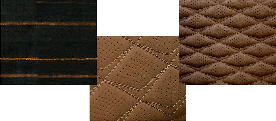 Escalade swatches: Fine Line Brandy Wood, Faceted Quilted Seating, Start/Stop Stitching.