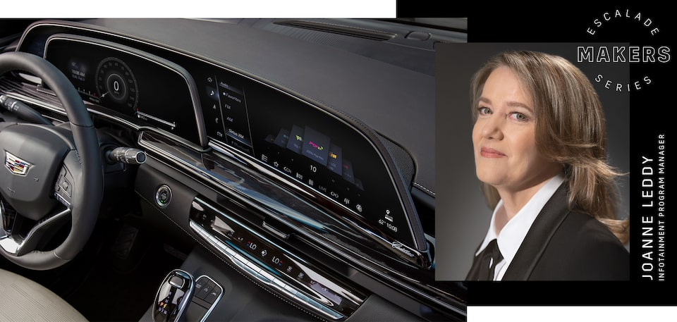 Infotainment Program Manager Joanne Leddy featuring the Escalade dashboard.