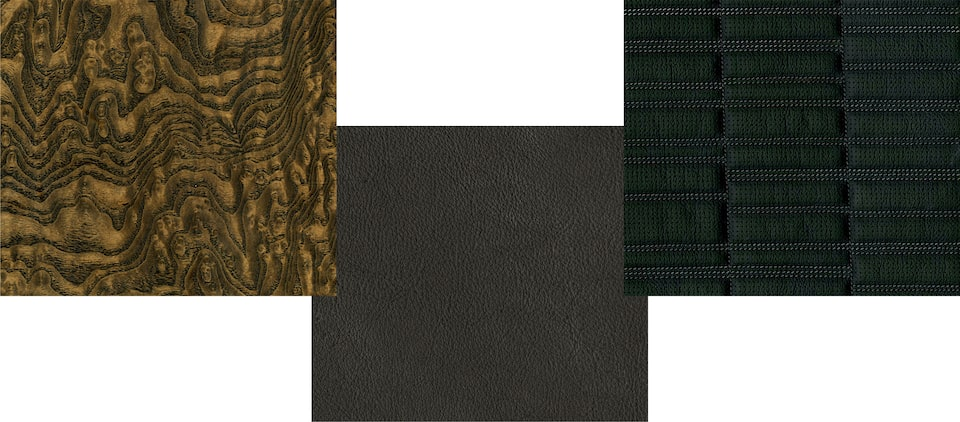 Escalade swatches: Natural Figured Ash Wood, Mondrian Quilted Seating, Opus Leather Seating.