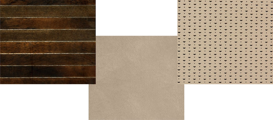 Escalade swatches: Linear Marquetry Wood, Mini Chevron Perforation, Fabric Interior Details.