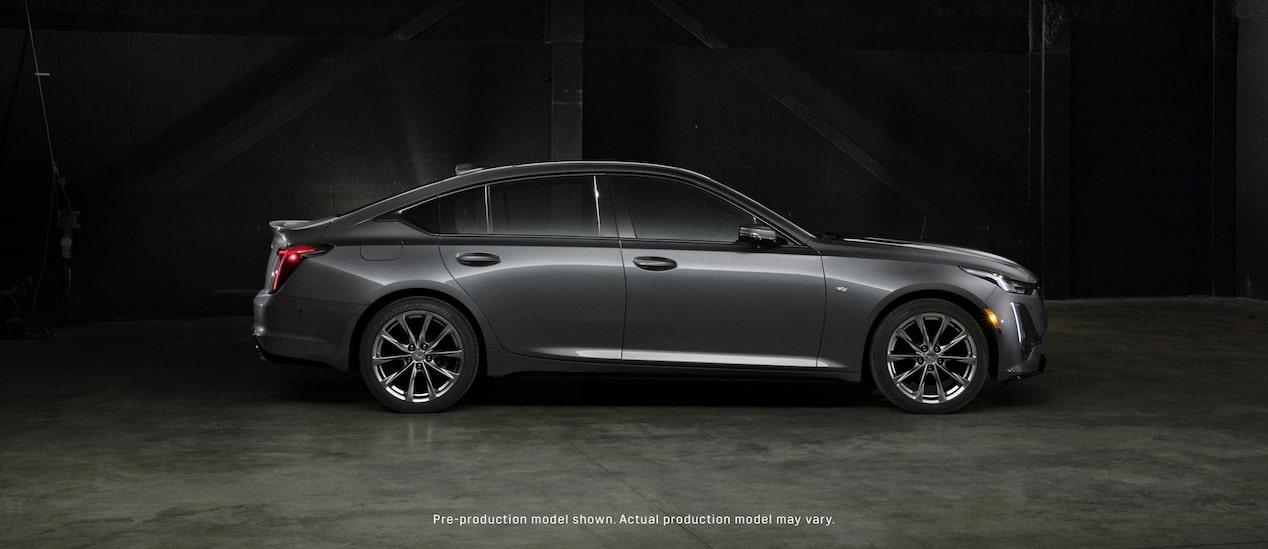 Right side view of the exterior of a dark gray 2020 Cadillac CT5.