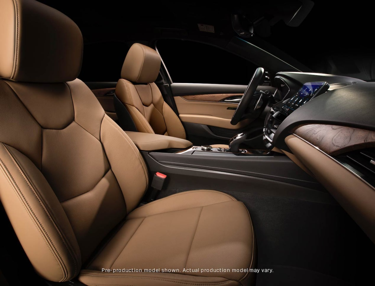 2020 Cadillac CT5 Interior with light brown leather seats and dark brown and black dashboard.