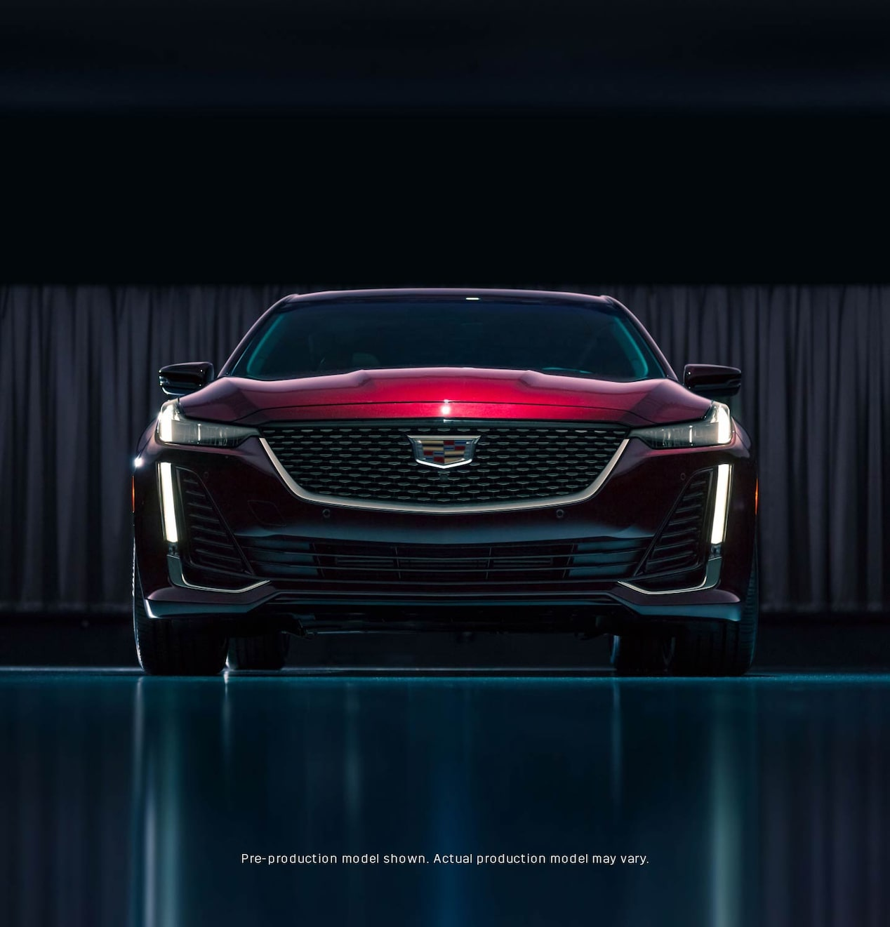 Front view of a dark red 2020 Cadillac CT5.