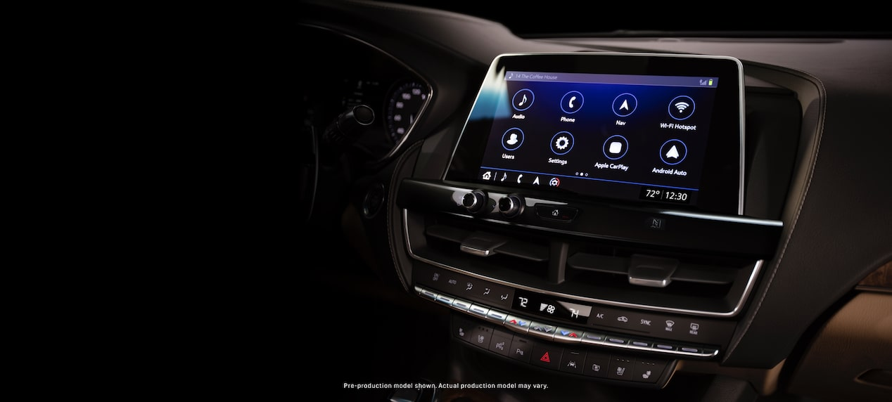 Dashboard of the 2020 Cadillac CT5 with  infotainment screen head unit and front air conditioner.