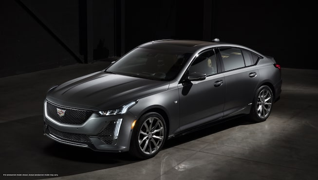 Front-side view of a dark gray 2020 Cadillac CT5.