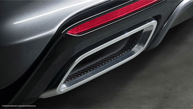 Close up view of an exhaust of a dark gray 2020 Cadillac CT5.