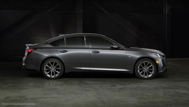Right side view of a dark gray 2020 Cadillac CT5.