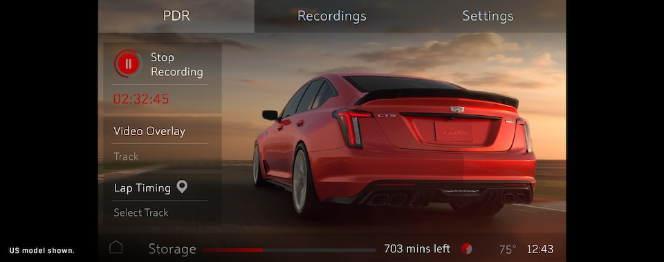 2022 Cadillac CT5-V Blackwing featuring the integrated performance data recorder.