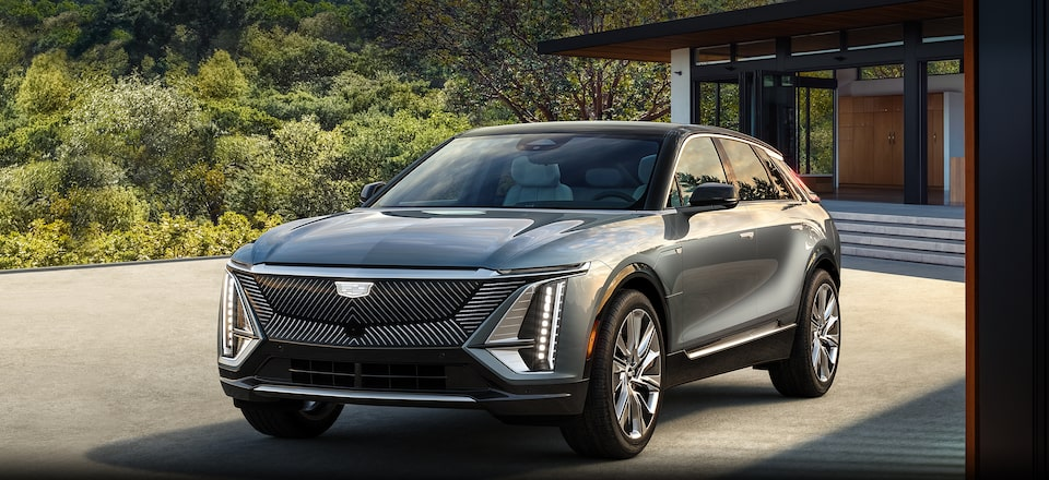 Cadillac LYRIQ Electric SUV Front & Side View