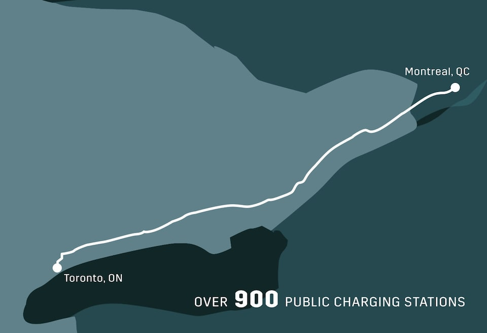 Toronto, Ontario to Montreal, Quebec: over 900 public charging stations.