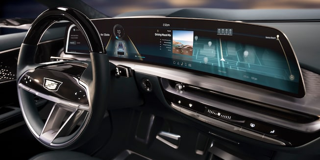 Cadillac LYRIQ augmented reality heads-up display.