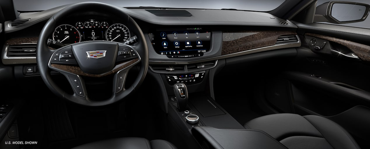 Interior of the 2019 Cadillac CT6 sedan in Jet Black.