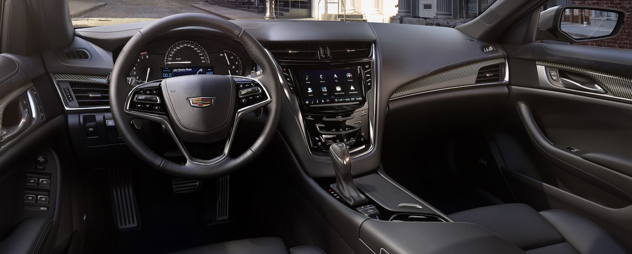 Seats of the Cadillac mid-size luxury sedan in Jet Black with Jet Black accents and Carbon Fibre trim.