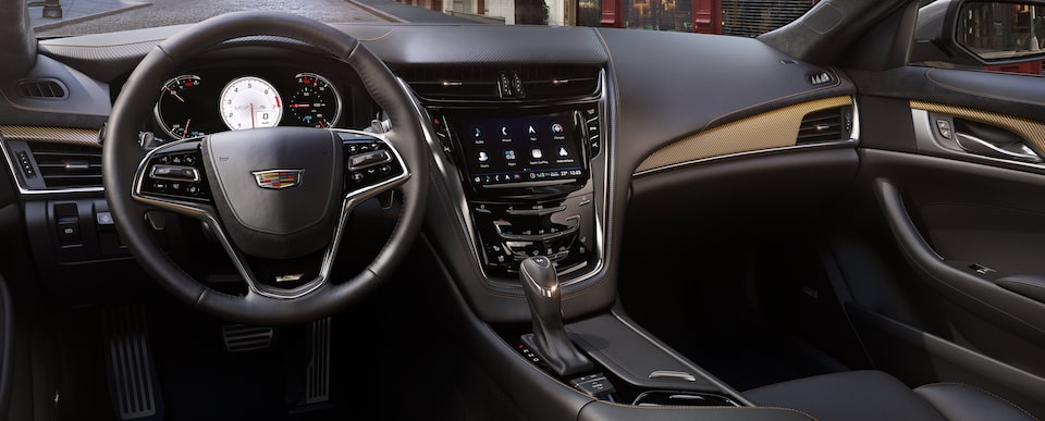 Interior dash of the 2019 Cadillac CTS-V in Jet Black with Saffron Accents.