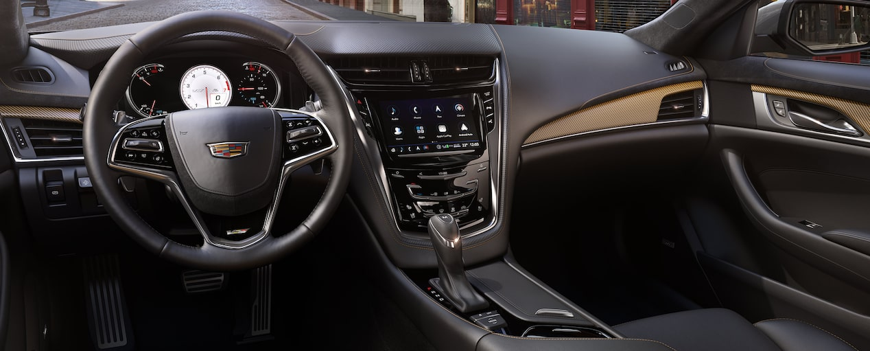 Interior dash of the 2019 Cadillac CTS-V in Recardo Light Platinum with Jet Black Accents.