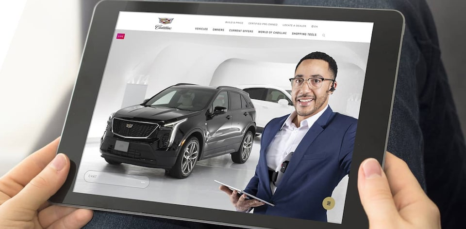 Cadillac Live shown on a tablet.